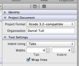 The spaces/tabs setting in the project's utility pane